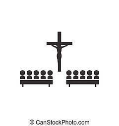 flat icon in black and white style church people