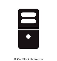flat icon in black and white style computer