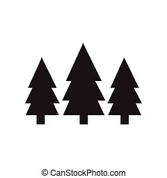 flat icon in black and white style Fir Trees