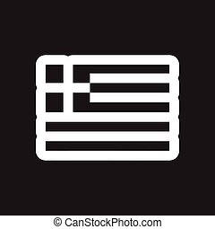 Flat icon in black and white style flag of Greece