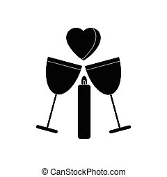 flat icon in black and white style glasses of wine