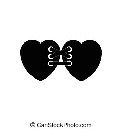 flat icon in black and white style hearts