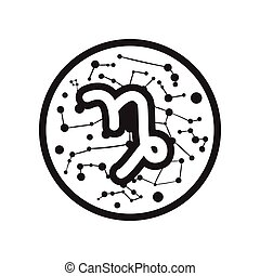 flat icon in black and white style Zodiac signs Capricorn
