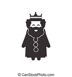flat icon in black and white style king