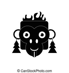 flat icon in black and white style monkey
