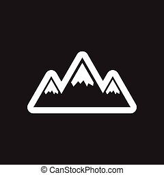Flat icon in black and white style mountains
