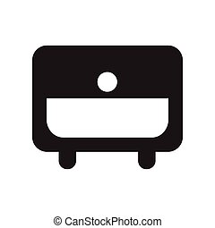 flat icon in black and white style nightstand
