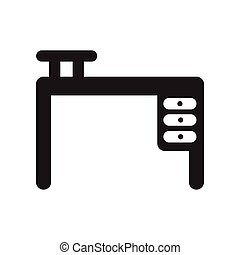 flat icon in black and white style office desk