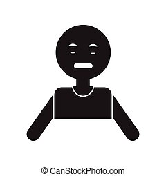 flat icon in black and white style pale man