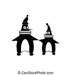 flat icon in black and white style penguins