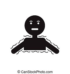 flat icon in black and white style people cold