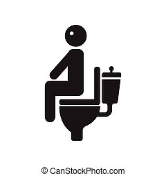 flat icon in black and white style people diarrhea