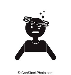 flat icon in black and white style people dizzy
