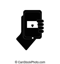 flat icon in black and white style phone in hand