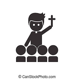 flat icon in black and white style Priest