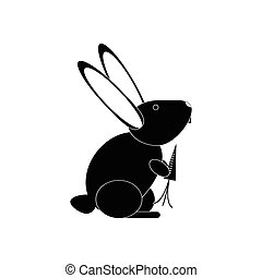 flat icon in black and white style rabbit