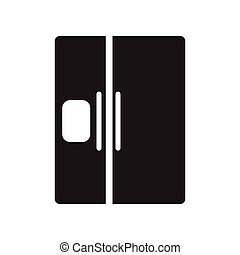 flat icon in black and white style refrigerator