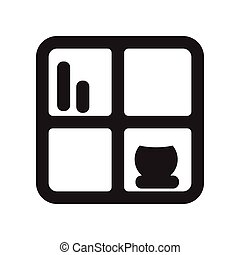 flat icon in black and white style shelf