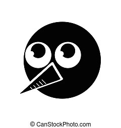 flat icon in black and white style snowman