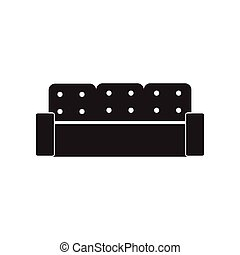 flat icon in black and white style sofa