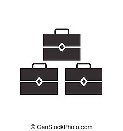 flat icon in black and white style suitcases