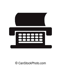 flat icon in black and white style typewriter