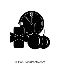 flat icon in black and white style Christmas watches
