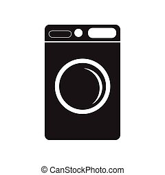 flat icon in black and white style washing machine