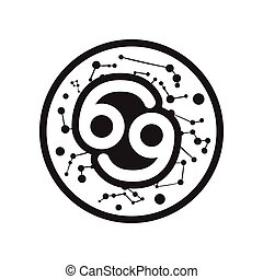 flat icon in black and white style zodiac sign cancer