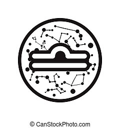 flat icon in black and white style Zodiac sign Libra