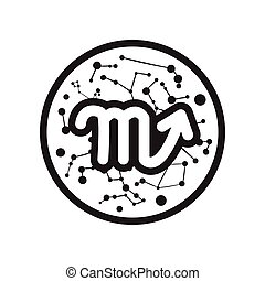 flat icon in black and white style Zodiac signs Scorpio