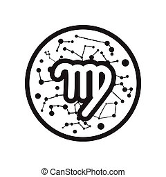 flat icon in black and white style Zodiac signs Virgo