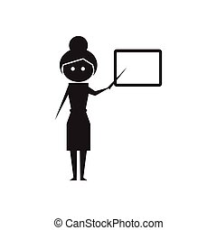Flat icon in black and white teacher