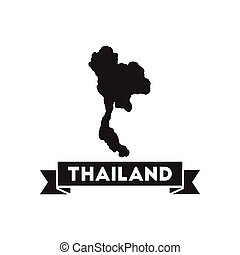Flat icon in black and white Thailand map