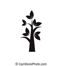 Flat icon in black and white tree