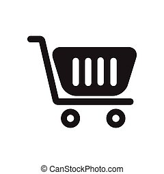 Flat icon in black and white trolley