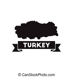 Flat icon in black and white Turkey map