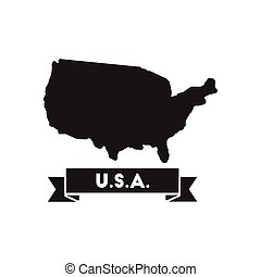 Flat icon in black and white united states map