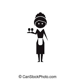 Flat icon in black and white waitress