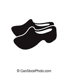 Flat icon in black and white wooden shoes - Flat icon in...