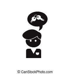 Flat icon in black and white Worker thought