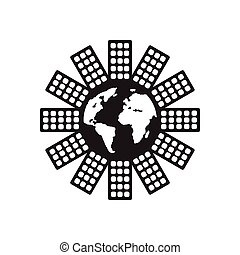 Flat icon in black and white world map flat icon in black flat icon in black and white world population gumiabroncs Gallery