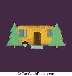 Flat Icon in Shading Style Trailer in forest