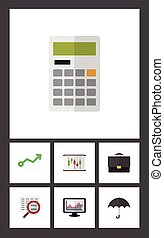 Flat Icon Incoming Set Of Calculate, Diagram, Growth And Other Vector Objects. Also Includes Search, Finance, Umbrella Elements.