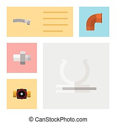 Flat Icon Industry Set Of Iron, Connector, Conduit And Other Vector Objects. Also Includes Pipe, Iron, Pump Elements.