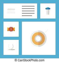 Flat Icon Industry Set Of Radiator, Pump Valve, Conduit And Other Vector Objects. Also Includes Teflon, Flange, Plumbing Elements.