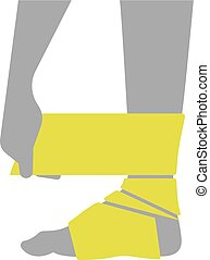 Flat icon injured leg or foot with a bandage on white...