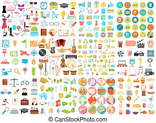 illustration of flat icon jumbo collection of eductaion, medical, music, food, beauty, shopping, business and environmet
