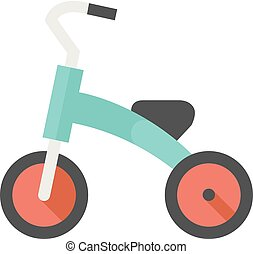 Flat icon - Kids tricycle - Kids tricycle icon in flat color...