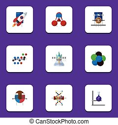 Flat Icon Knowledge Set Of Spaceship, Flask, Electrical Engine And Other Vector Objects. Also Includes Force, Flame, Electrical Elements.